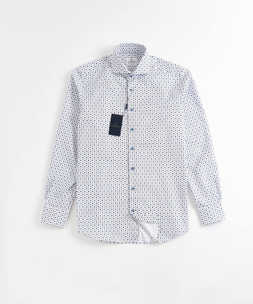 NEAT BLUE FLOWER PRINT MODERN FIT SHIRT / WHITE