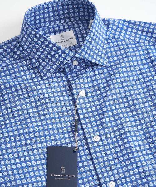 MINI FLOWER PRINT MODERN FIT SHIRT / BLUE
