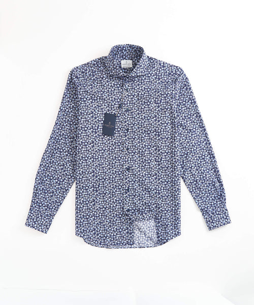FLOWER PRINT MODERN FIT SHIRT / NAVY