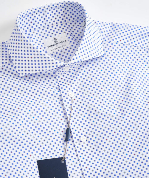 MINI DAISEY PRINT MODERN FIT SHIRT / WHITE