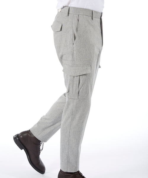 WOOL & CASHMERE FLANNEL CARGO TROUSERS / LIGHT GREY