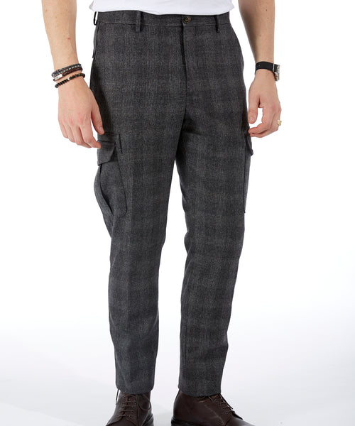 WOOL & CASHMERE FLANNEL CARGO TROUSERS / CHARCOAL