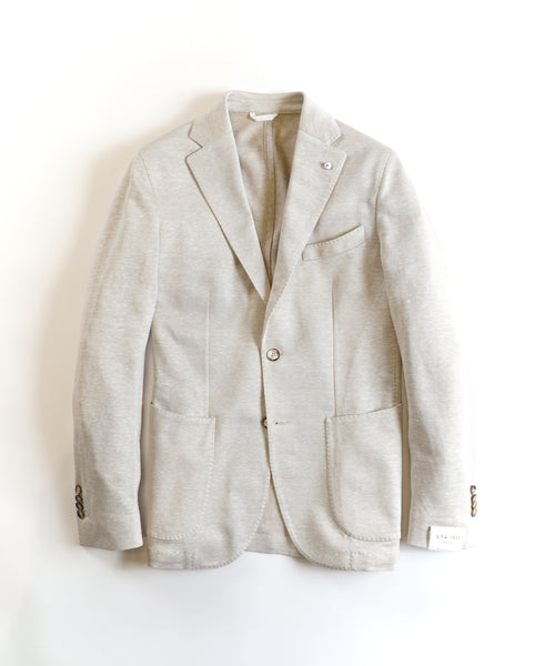 COTTON/LINEN STRETCH PIQUE JACKET / CREAM
