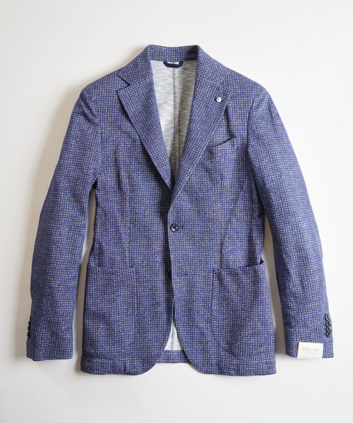 HOUNDSTOOTH JERSEY PRINT JACKET / BLUE