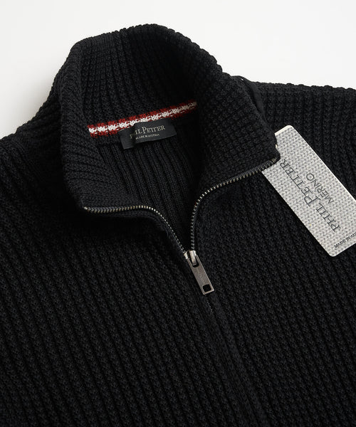 Phil Petter Black Full Zip Merino Wool Waffle Cardigan