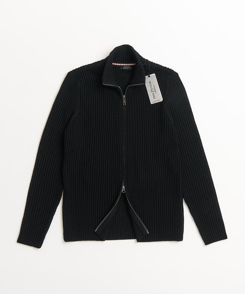 Phil Petter Black Full Zip Merino Wool Popcorn Cardigan