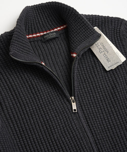 Phil Petter Full Zip Grey Merino Wool Waffle Cardigan