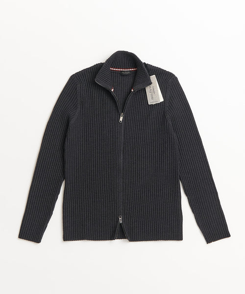 Phil Petter Full Zip Grey Merino Wool Popcorn Cardigan