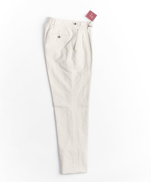 COTTON/LINEN RELAXED TAPER TROUSERS / BEIGE