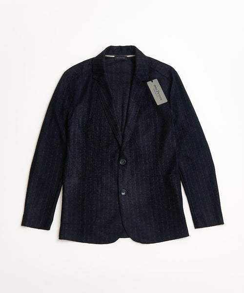 Phil Petter Navy Striped Soft Raw Edge Sweater Blazer