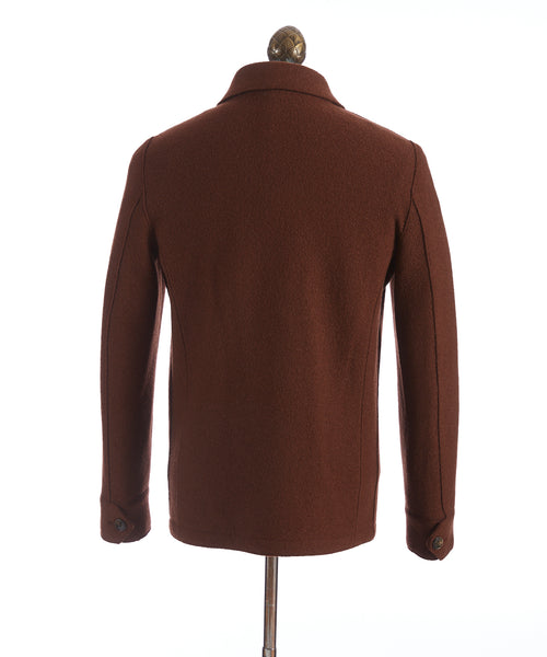 BOILED WOOL SWEATER JACKET / BURNT ORANGE