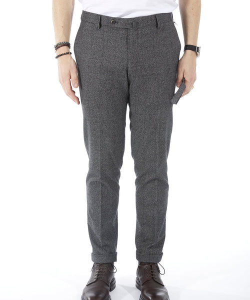 TECH COTTON GLENCHECK PANT / GREY