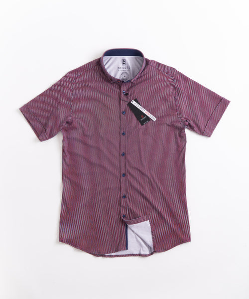 DOT PRINT SHORT SLEEVE SHIRT / RED