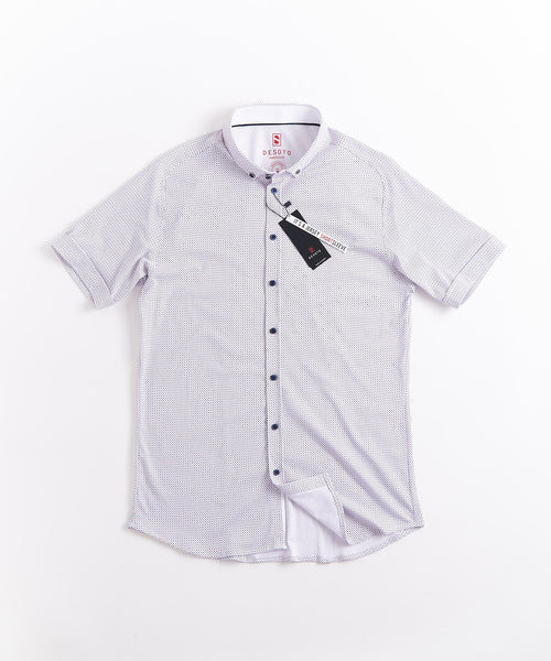 SQUARE & DIAMOND PRINT SHORT SLEEVE SHIRT / WHITE