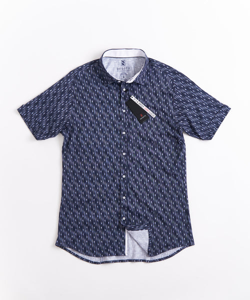 ABSTRACT PRINT SHORT SLEEVE SHIRT / NAVY