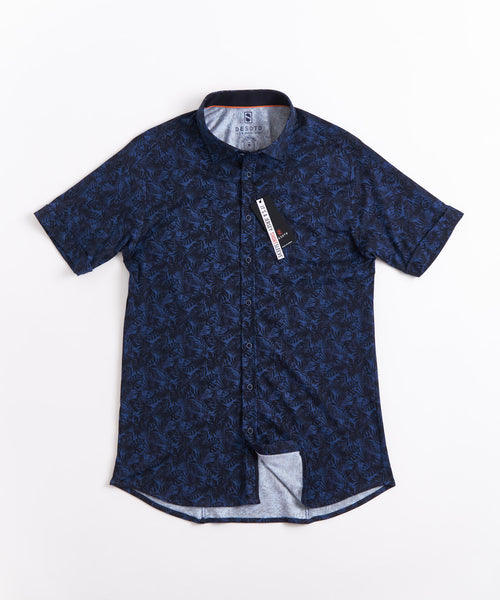 LEAF PRINT SHORT SLEEVE SHIRT / NAVY
