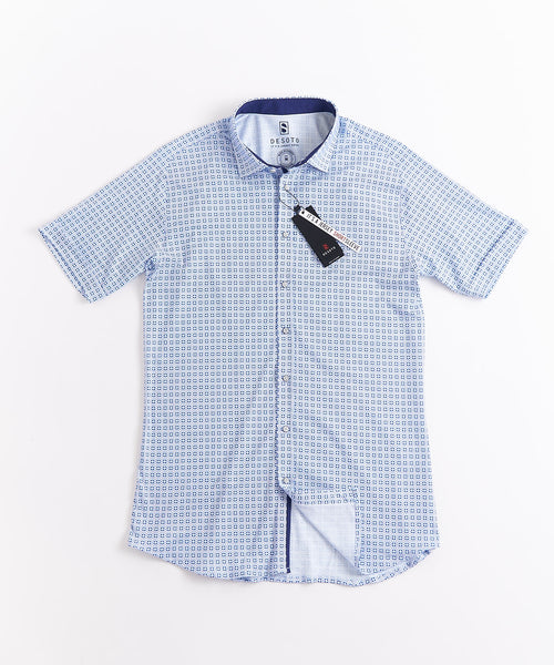 GEOMETRIC PRINT SHORT SLEEVE SHIRT / LIGHT BLUE