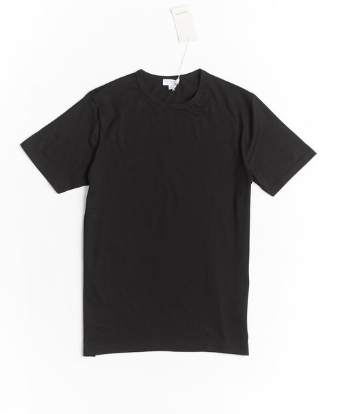 LONG STAPLE CREW NECK T-SHIRT / BLACK