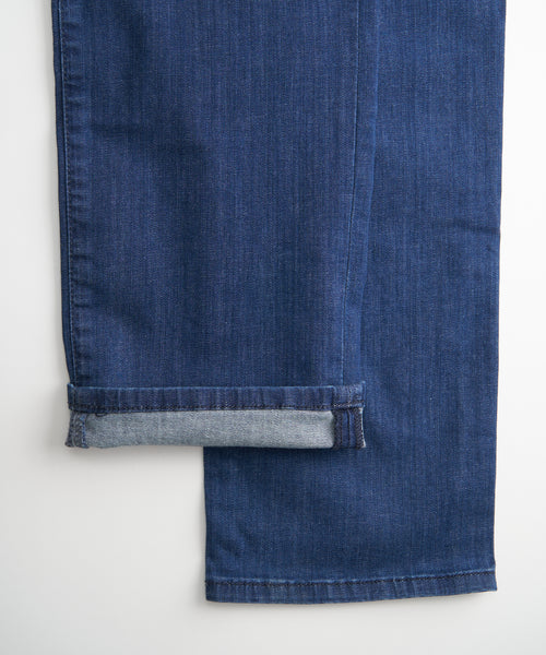 'COOL' WASHED TAPERED JEANS / BLUE