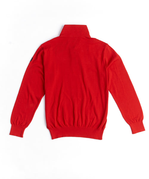 COTTON QUARTER ZIP PULLOVER / RED