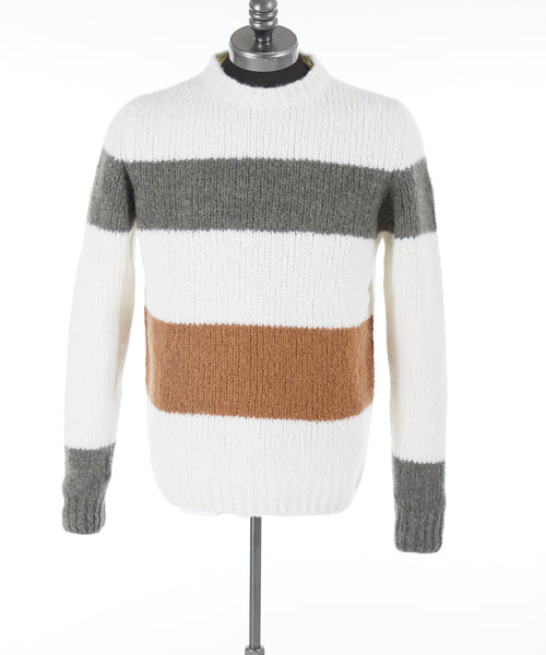 CASHMERE BLEND COLOUR BLOCKED SWEATER / IVORY