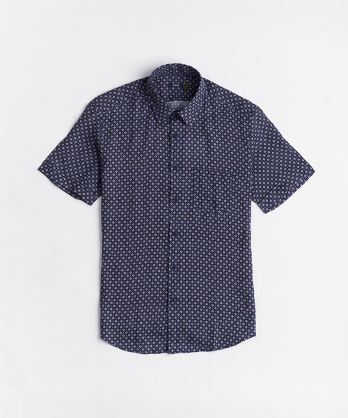 NEAT PATTERN LINEN SHORT SLEEVE SHIRT / BLUE