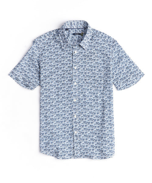 LEAF PRINT LINEN SHORT SLEEVE SHIRT / BLUE