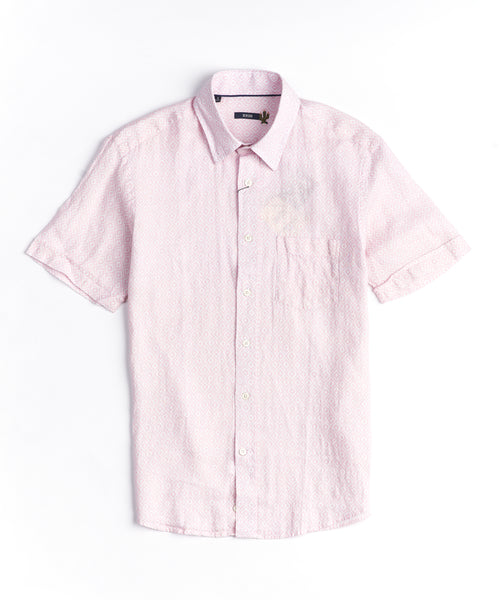 VINTAGE HAWAIIAN LINEN SHORT SLEEVE SHIRT / PINK