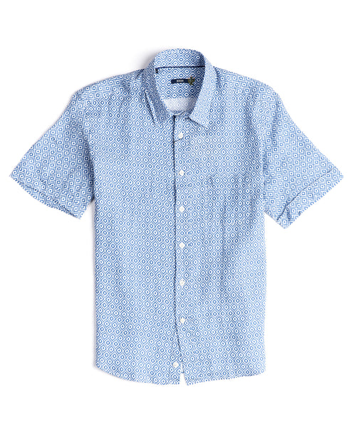 RETRO WAVES LINEN SHORT SLEEVE SHIRT / BLUE