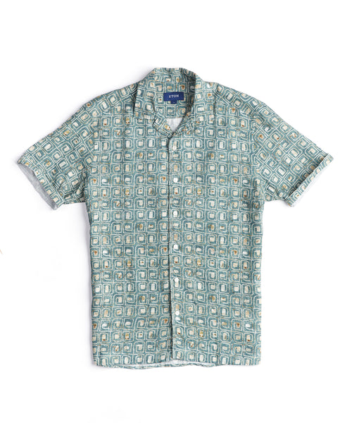 BLOCK PRINT LINEN RESORT SHIRT / GREEN