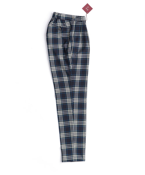 BOLD CHECK RELAXED TAPER TROUSERS / BLUE