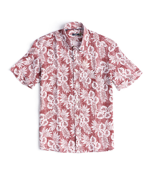 VINTAGE HAWAIIAN LINEN SHORT SLEEVE SHIRT / RED