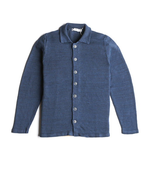 Inis Meain Washed Linen Shirt Jacket S2009-BLUEBERRY