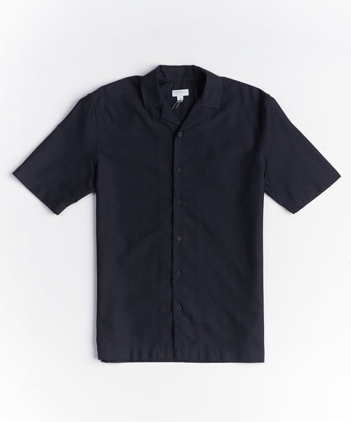 SHORT SLEEVE MESH CAMP COLLAR SHIRT / NAVY