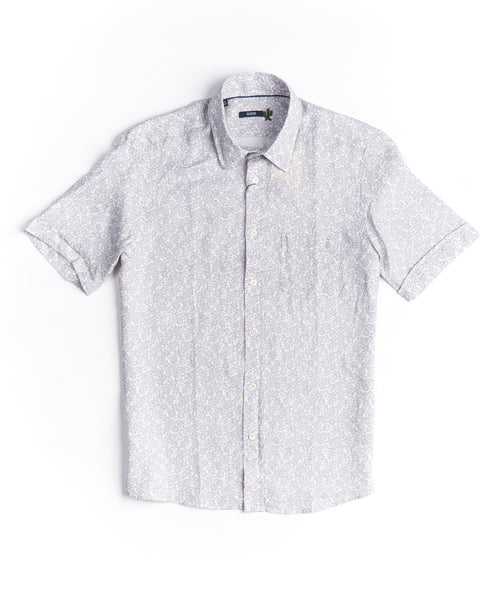 TONAL FLORAL LINEN SHORT SLEEVE SHIRT / GREY