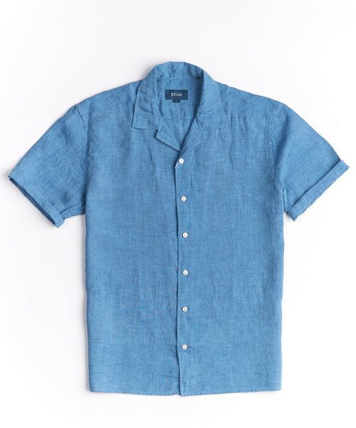 RESORT LINEN RELAXED SHIRT / BLUE