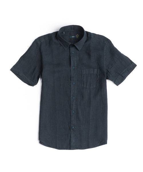 CLASSIC LINEN SHORT SLEEVE SHIRT / NAVY