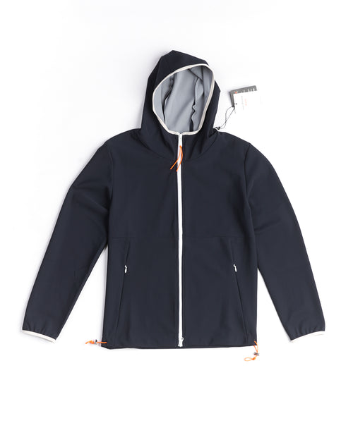 NEOPRENE HOODED TRACK JACKET / NAVY