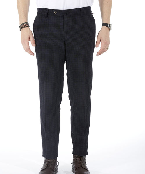 TECH TERRY HOUNDSTOOTH VELOURS PANT / NAVY
