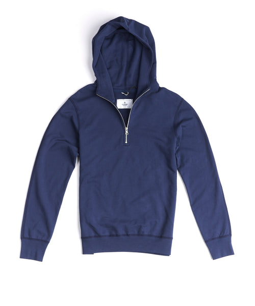 LIGHTWEIGHT TERRY HALF ZIP HOODIE / BLUE