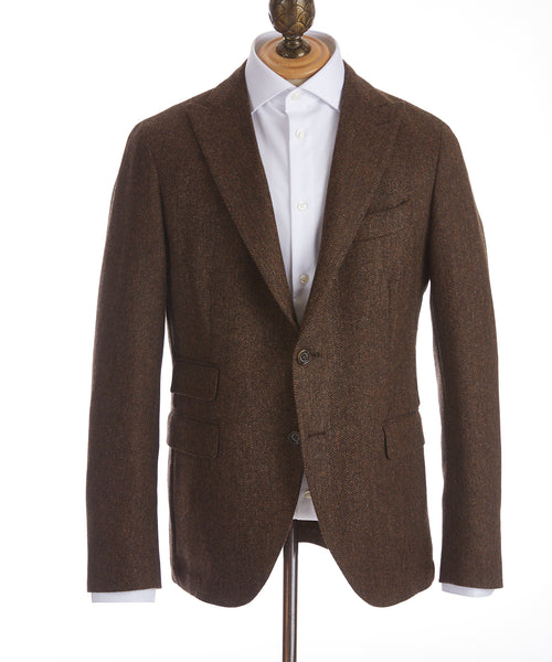 SOFT TWEED HERRINGBONE SPORT JACKET / COGNAC/BLACK