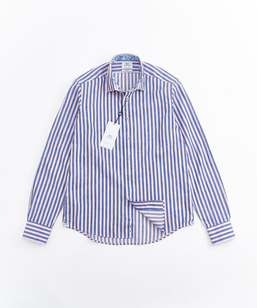 STRIPED LINEN LONG SLEEVE SHIRT / PINK