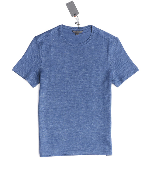 TEXTURED CREWNECK T-SHIRT / BLUE
