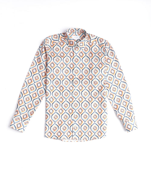 RETRO GEOMETRIC PRINT SLIM SHIRT / ORANGE