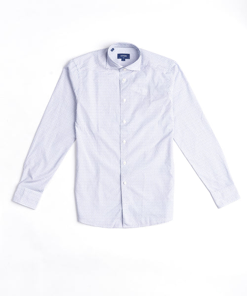 SOFT MICROPRINTED FLORAL POPLIN SLIM SHIRT / PURPLE