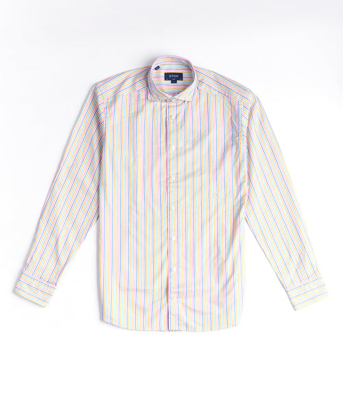 SOFT STRIPED TWILL SLIM SHIRT / MULTI