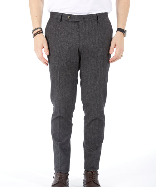 TECH COTTON HERRINGBONE PANT / GREY