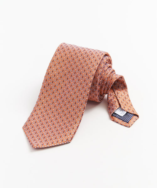 NEAT SHARP JACQUARD NECKTIE / ORANGE
