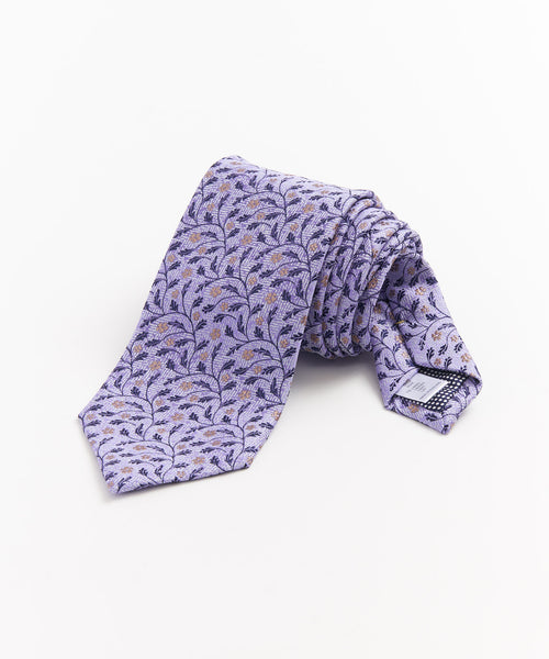 FLOWER JACQUARD SILK & LINEN NECKTIE / PURPLE
