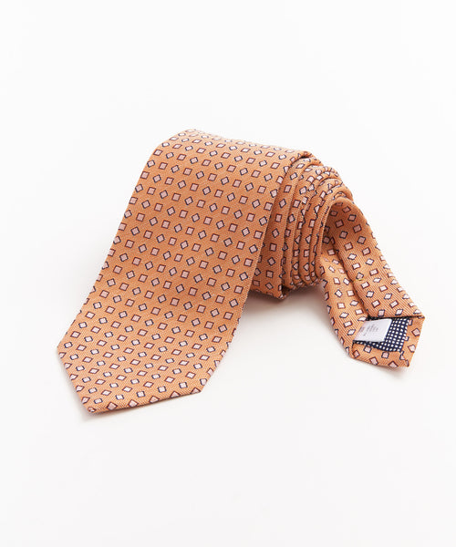 SQUARES SILK & LINEN NECKTIE / ORANGE